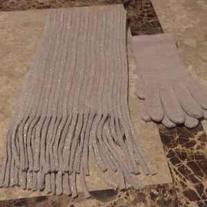 Tan scarf and gloves set New York & Company